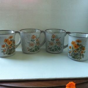 Other - Brown Rim Coffee Tea Handle Mugs w/ Floral Pattern